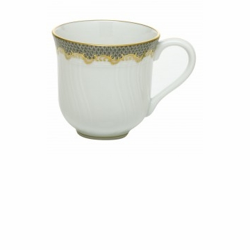 Herend Porcelain White with Gray Border Mug (10 Oz) 3.5H - Gray