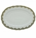 Herend Porcelain White with Gray Border Platter 15L X 11.5W - Gray