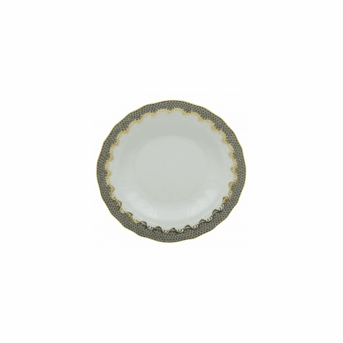 Herend Porcelain White with Gray Border Rim Soup Plate 8D - Gray