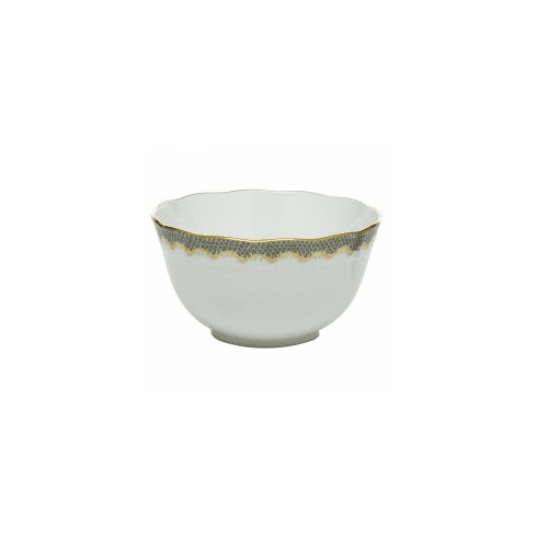 Herend Porcelain White with Gray Border Round Bowl (3.5Pt) 7.5D - Gray