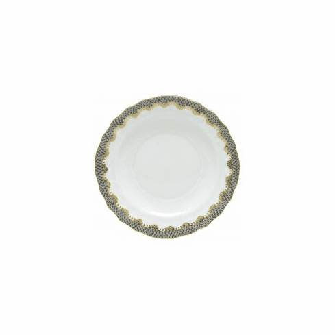 Herend Porcelain White with Gray Border Salad Plate 7.5D - Gray