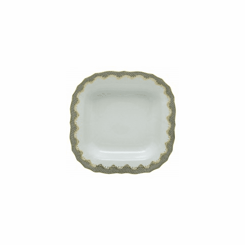 Herend Porcelain White with Gray Border Square Fruit Dish 11Sq - Gray