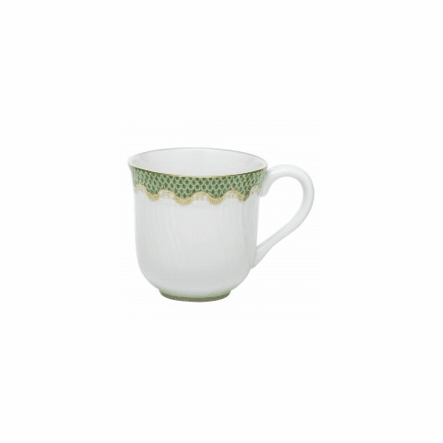 Herend Porcelain White with Green Border Mug (10 Oz) 3.5H - Jade