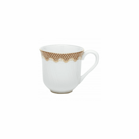 Herend Porcelain White with Rust Border Mug (10 Oz) 3.5H - Rust
