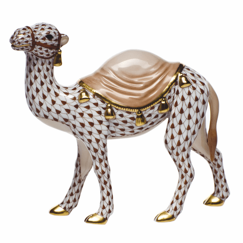 """Herend Shaded Brown Fishnet Figurine - Wandering Camel 5.75""""L X 5""""H"""