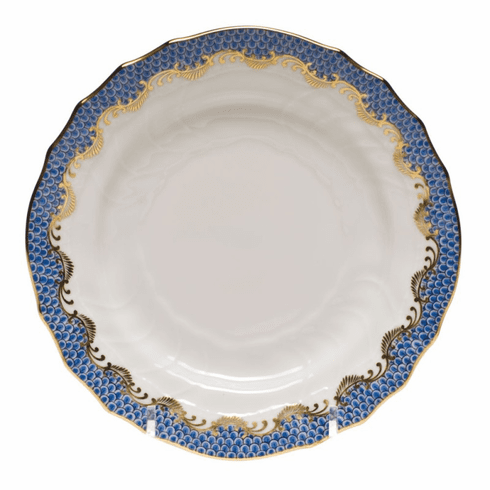 """Herend White With Blue Border Bread & Butter Plate 6""""D"""