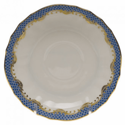 """Herend White With Blue Border Canton Saucer 5.5""""D"""
