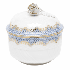 "Herend White With Blue Border Covered Sugar With Rose (6 Oz) 4""H"