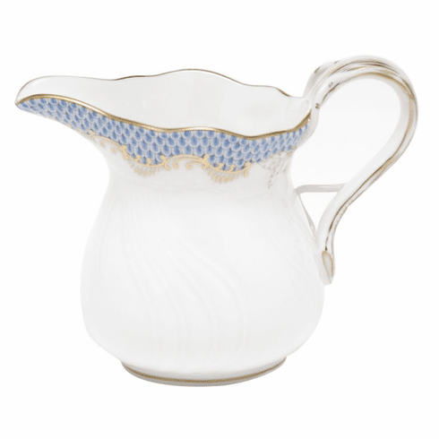 "Herend White With Blue Border Creamer (6 Oz) 3.5""H"