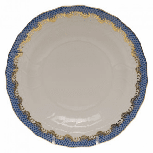 """Herend White With Blue Border Dessert Plate 8.25""""D"""