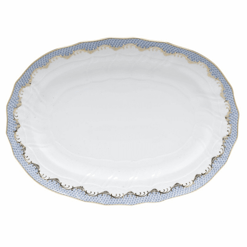 "Herend White With Blue Border Platter 15""L X 11.5""W"