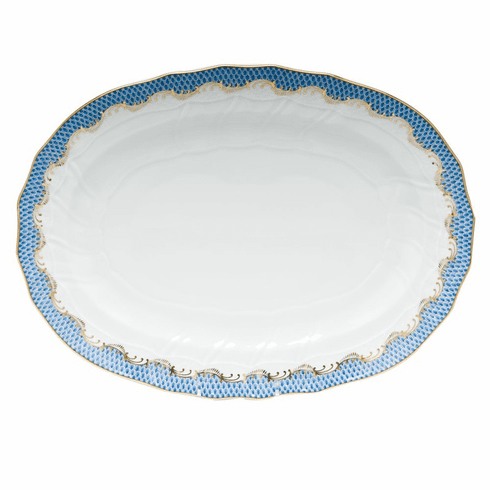 """Herend White With Blue Border Platter 15""""L X 11.5""""W"""