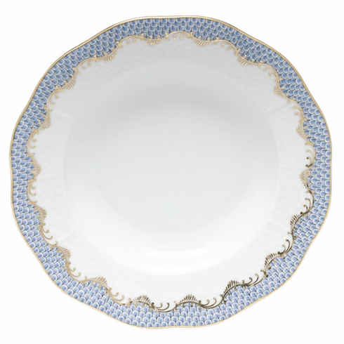 """Herend White With Blue Border Rim Soup Plate 8""""D"""