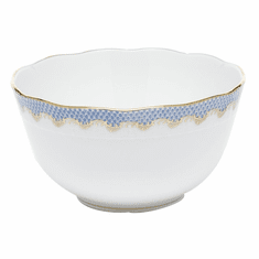 "Herend White With Blue Border Round Bowl (3.5 Pt) 7.5""D"