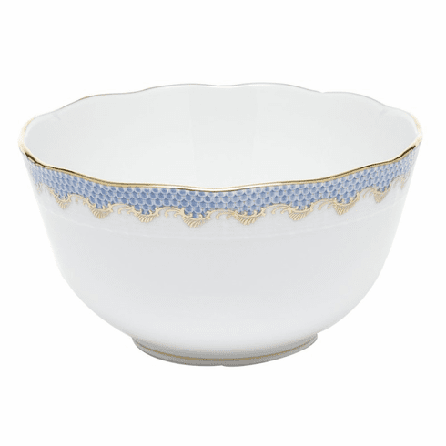 """Herend White With Blue Border Round Bowl (3.5 Pt) 7.5""""D"""