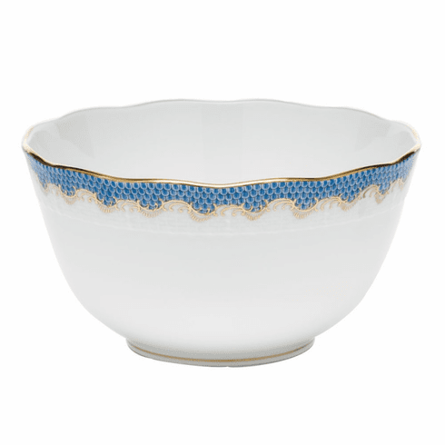 """Herend White With Blue Border Round Bowl (3.5Pt) 7.5""""D"""