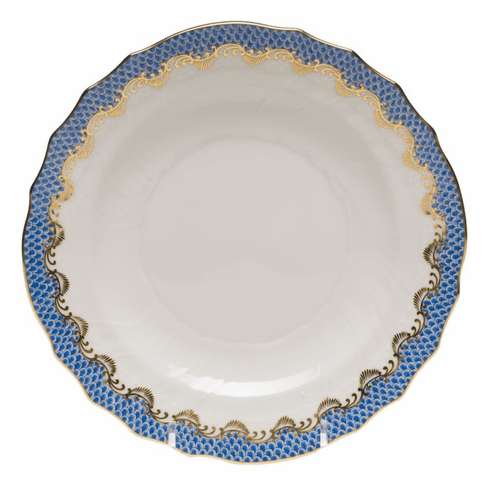 """Herend White With Blue Border Salad Plate 7.5""""D"""