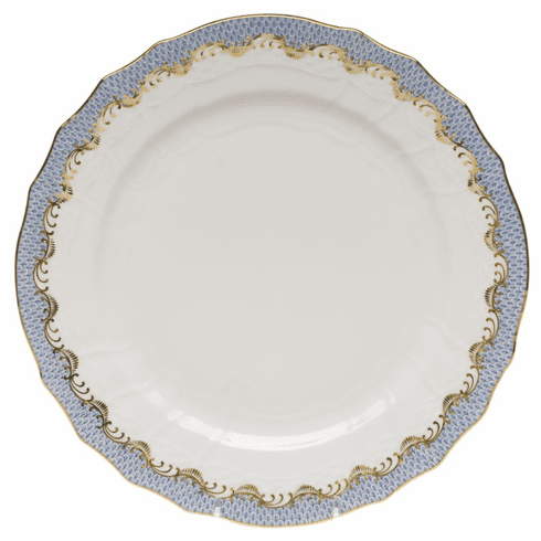 """Herend White With Blue Border Service Plate 11""""D"""