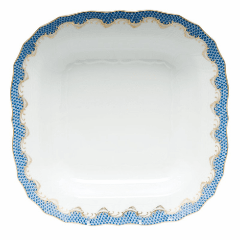 """Herend White With Blue Border Square Fruit Dish 11""""Sq"""