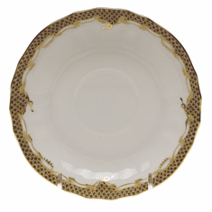 """Herend White With Brown Border Canton Saucer 5.5""""D"""