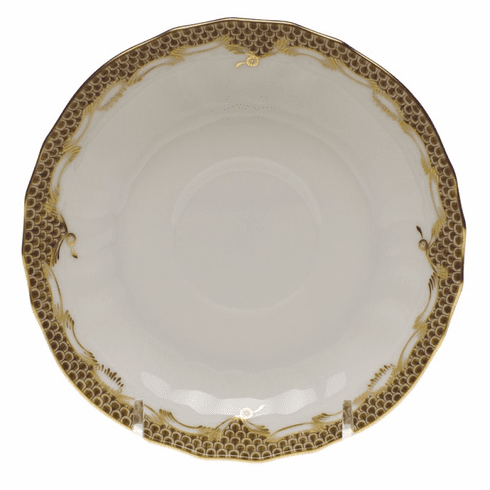 "Herend White With Brown Border Canton Saucer 5.5""D"