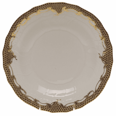 """Herend White With Brown Border Dessert Plate 8.25""""D"""