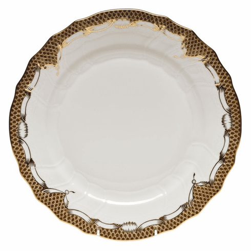 "Herend White With Brown Border Dinner Plate 10.5""D"