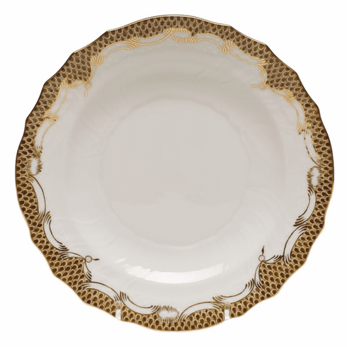 """Herend White With Brown Border Salad Plate 7.5""""D"""