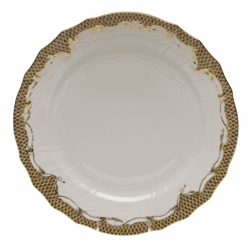 """Herend White With Brown Border Service Plate 11""""D"""
