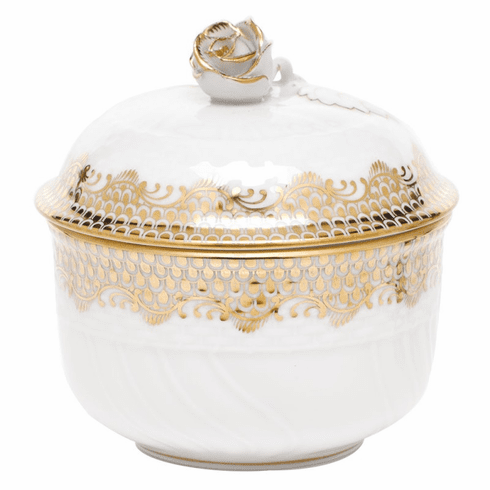 """Herend White With Gold Border Covered Sugar With Rose (6 Oz) 4""""H"""