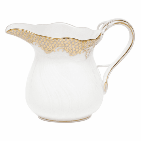"""Herend White With Gold Border Creamer (6 Oz) 3.5""""H"""