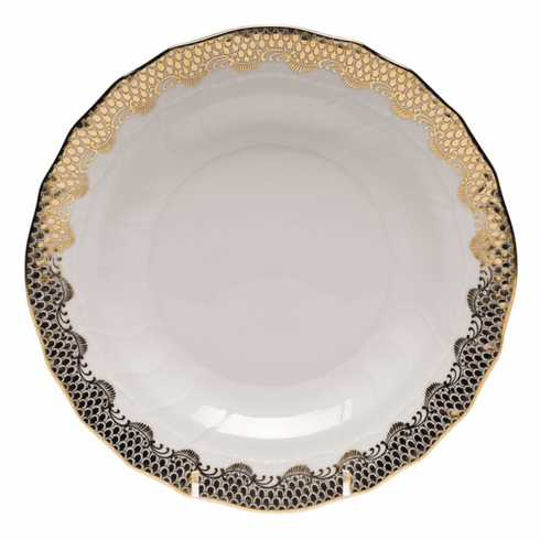"""Herend White With Gold Border Dessert Plate 8.25""""D"""