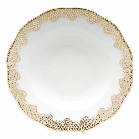 "Herend White With Gold Border Rim Soup Plate 8""D"