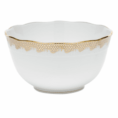 """Herend White With Gold Border Round Bowl (3.5Pt) 7.5""""D"""