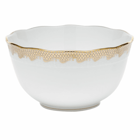 "Herend White With Gold Border Round Bowl (3.5Pt) 7.5""D"