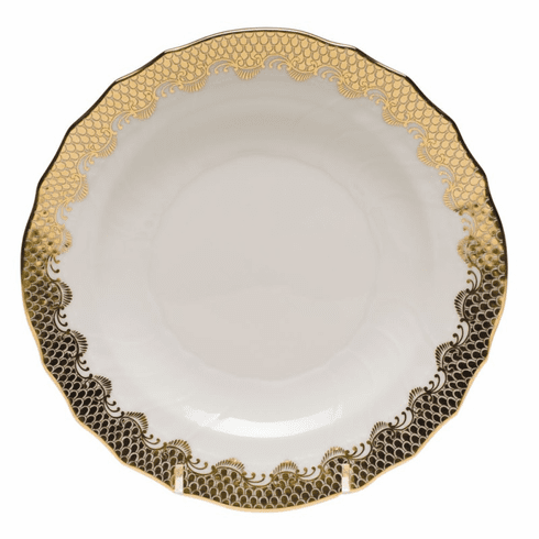 """Herend White With Gold Border Salad Plate 7.5""""D"""