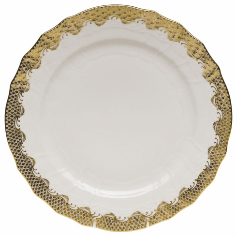 """Herend White With Gold Border Service Plate 11""""D"""