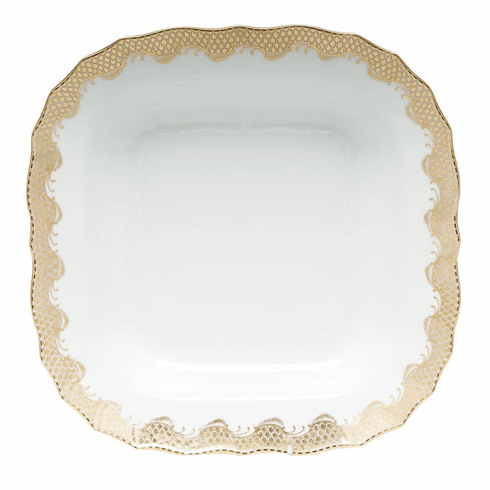 """Herend White With Gold Border Square Fruit Dish 11""""Sq"""