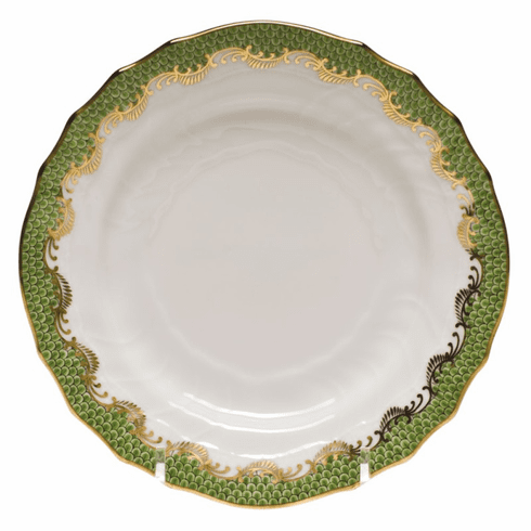 """Herend White With Green Border Bread & Butter Plate 6""""D - Evergreen"""