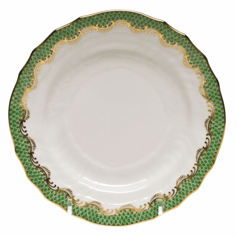 "Herend White With Green Border Bread & Butter Plate 6""D - Jade"