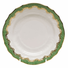 """Herend White With Green Border Bread & Butter Plate 6""""D - Jade"""