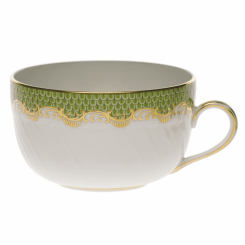 Herend White With Green Border Canton Cup (6 Oz) - Evergreen