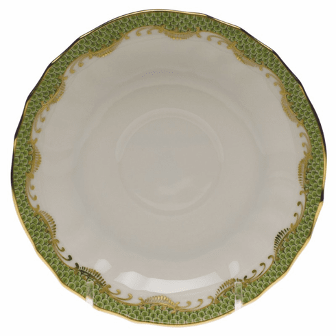 """Herend White With Green Border Canton Saucer 5.5""""D - Evergreen"""