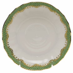 """Herend White With Green Border Canton Saucer 5.5""""D - Jade"""