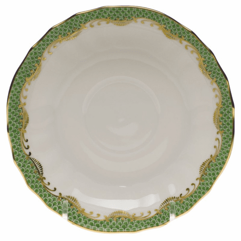 "Herend White With Green Border Canton Saucer 5.5""D - Jade"