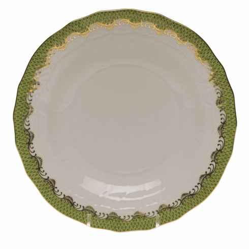 """Herend White With Green Border Dessert Plate 8.25""""D - Evergreen"""