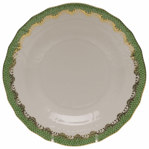 """Herend White With Green Border Dessert Plate 8.25""""D - Jade"""