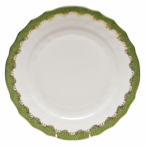 """Herend White With Green Border Dinner Plate 10.5""""D - Evergreen"""