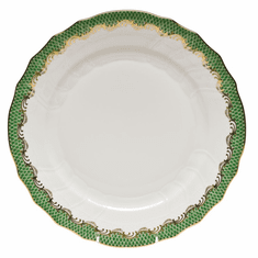 """Herend White With Green Border Dinner Plate 10.5""""D - Jade"""