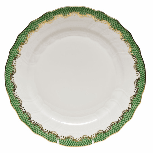 "Herend White With Green Border Dinner Plate 10.5""D - Jade"